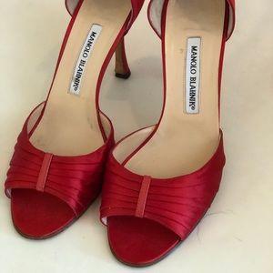 Manolo Blahnik Red D'orsay Peep Toe Pumps 39
